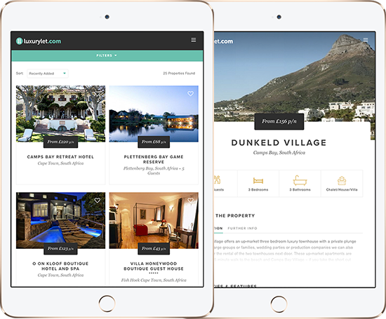 Luxury Let - tablet layouts
